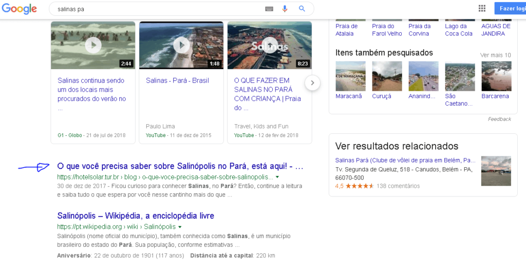 pesquisa no google que mostra o hotel solar em primeiro lugar no google